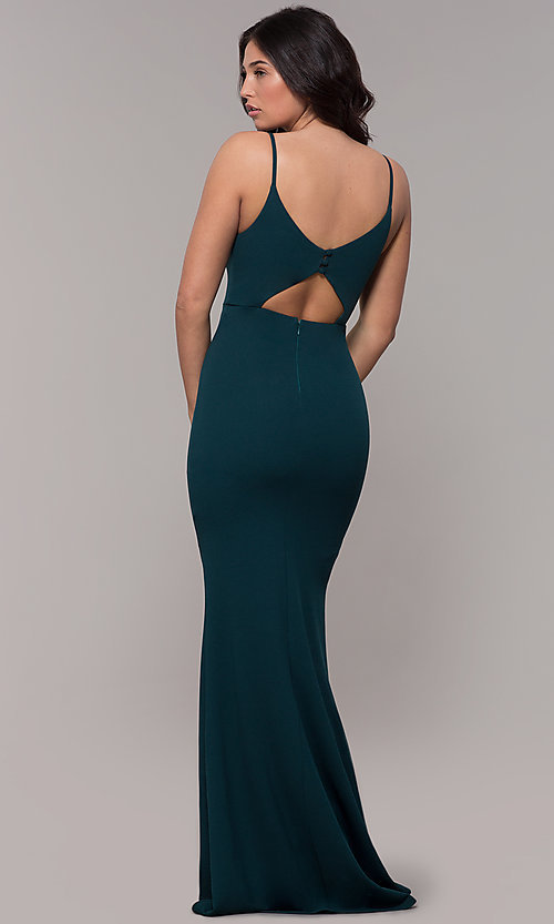 Image of cut-out-back long v-neck simple prom dress. Style: MT-9340 Back Image