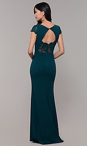Image of long lace-back prom dress with short sleeves. Style: MT-9339 Back Image
