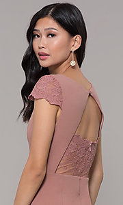 Image of long lace-back prom dress with short sleeves. Style: MT-9339 Detail Image 7