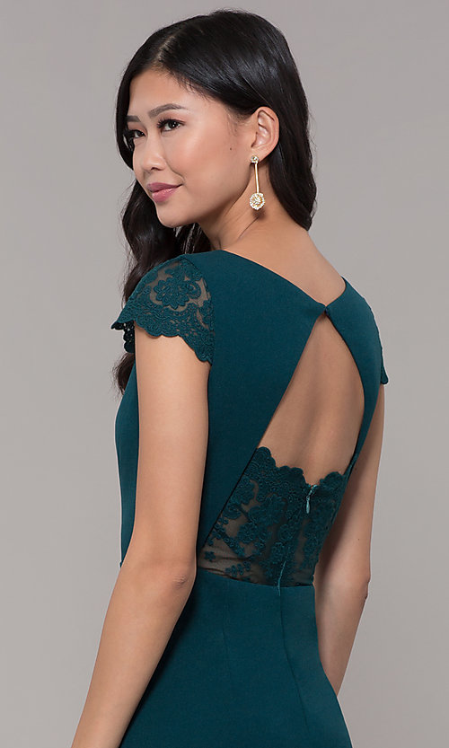 Image of long lace-back prom dress with short sleeves. Style: MT-9339 Detail Image 2