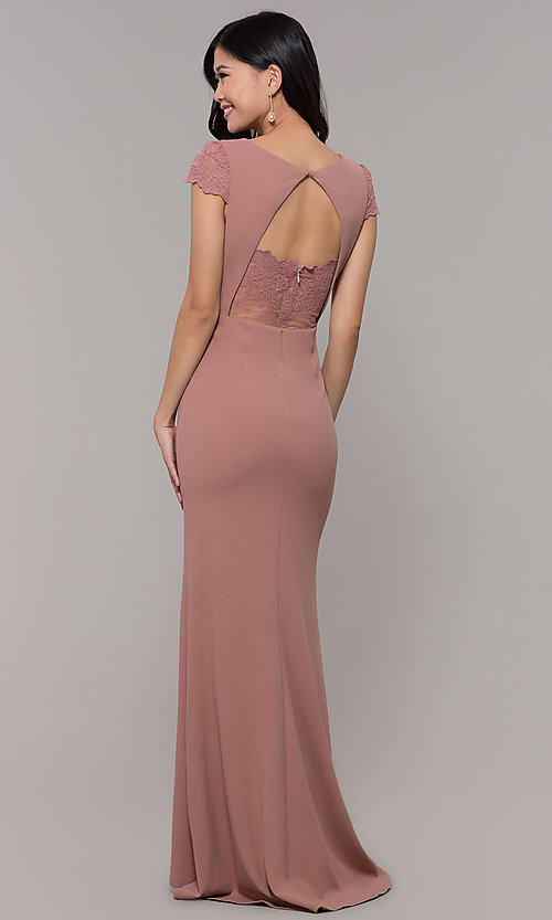 Image of long lace-back prom dress with short sleeves. Style: MT-9339 Detail Image 5