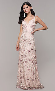 Image of long v-neck embroidered-mesh prom dress. Style: MT-9207 Front Image