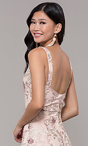 Image of long v-neck embroidered-mesh prom dress. Style: MT-9207 Detail Image 2