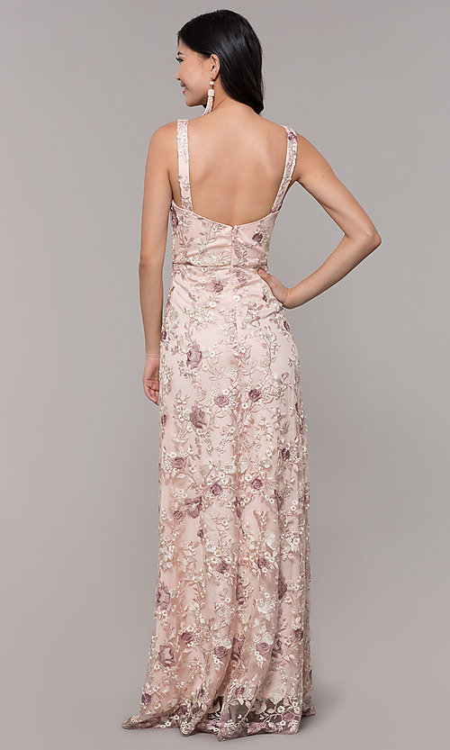 Image of long v-neck embroidered-mesh prom dress. Style: MT-9207 Back Image