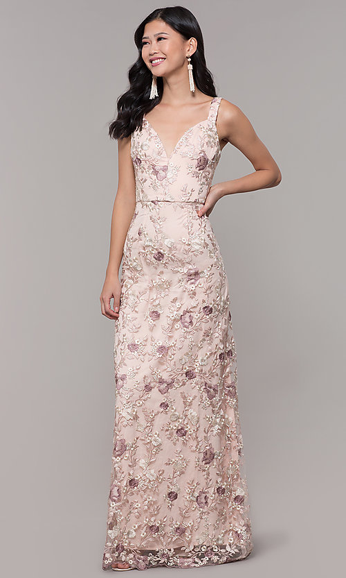 Image of long v-neck embroidered-mesh prom dress. Style: MT-9207 Detail Image 3
