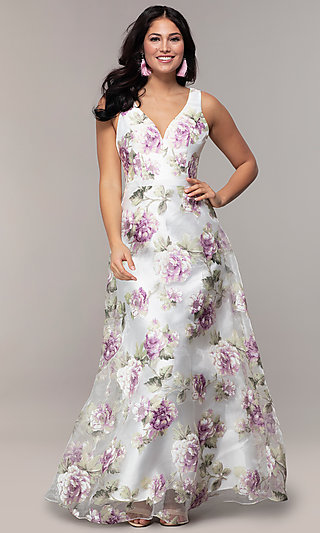 Long V-Neck Floral-Print Prom Dress in Organza