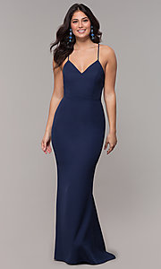 Image of corset long prom dress in navy blue. Style: MT-9365-1 Back Image