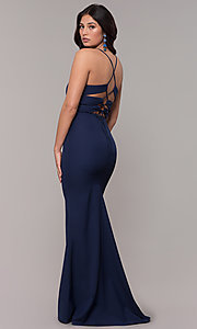Image of corset long prom dress in navy blue. Style: MT-9365-1 Front Image