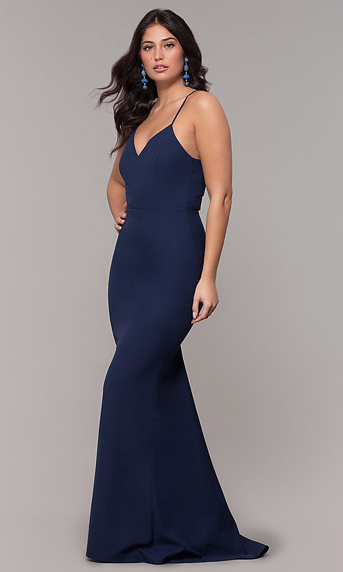 Image of corset long prom dress in navy blue. Style: MT-9365-1 Detail Image 3