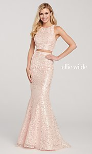 Image of long sequin mermaid two-piece designer prom dress. Style: TB-EW119058 Front Image