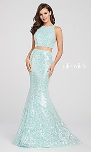 Image of long sequin mermaid two-piece designer prom dress. Style: TB-EW119058 Detail Image 3