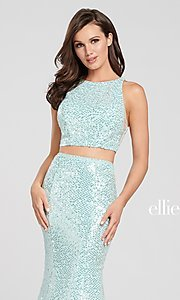 Image of long sequin mermaid two-piece designer prom dress. Style: TB-EW119058 Detail Image 4