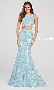 Image of long sequin mermaid two-piece designer prom dress. Style: TB-EW119058 Detail Image 5