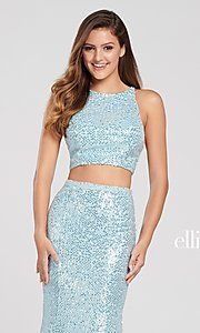 Image of long sequin mermaid two-piece designer prom dress. Style: TB-EW119058 Detail Image 6