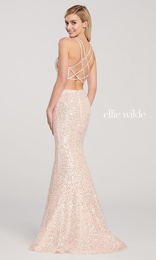 Image of long sequin mermaid two-piece designer prom dress. Style: TB-EW119058 Back Image