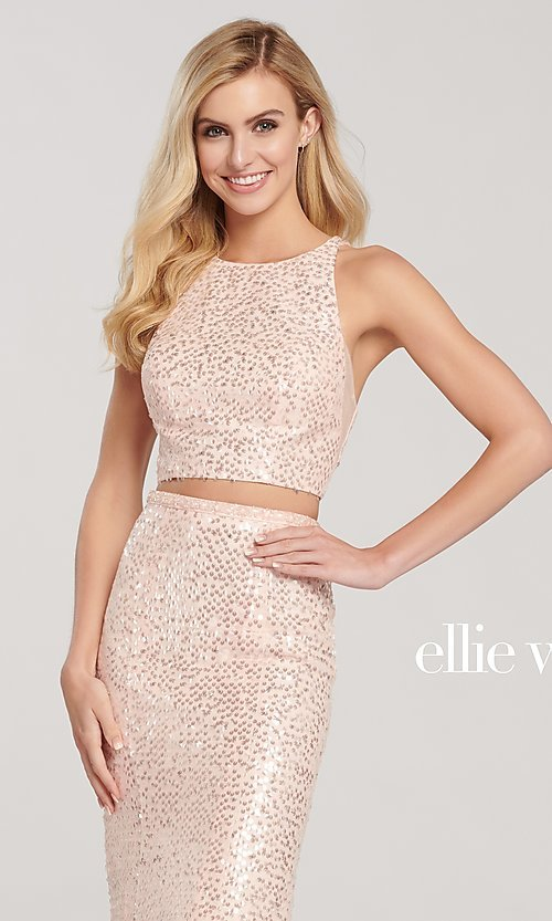 Image of long sequin mermaid two-piece designer prom dress. Style: TB-EW119058 Detail Image 1