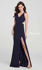 Image of long designer prom dress with side cut outs. Style: TB-EW119159 Back Image
