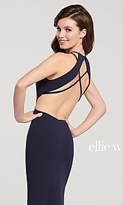 Image of long designer prom dress with side cut outs. Style: TB-EW119159 Detail Image 1