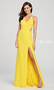 Image of long designer prom dress with side cut outs. Style: TB-EW119159 Detail Image 5