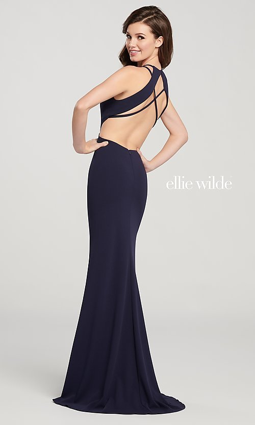 Image of long designer prom dress with side cut outs. Style: TB-EW119159 Front Image
