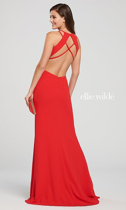 Image of long designer prom dress with side cut outs. Style: TB-EW119159 Detail Image 3