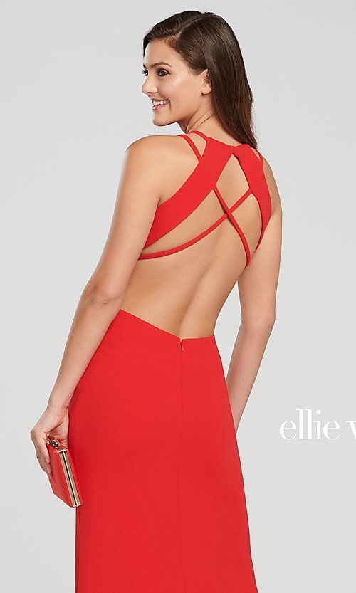 Image of long designer prom dress with side cut outs. Style: TB-EW119159 Detail Image 4