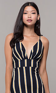 Image of black striped high-low v-neck wedding guest dress. Style: CL-46953 Detail Image 1