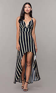 Image of black striped high-low v-neck wedding guest dress. Style: CL-46953 Detail Image 3