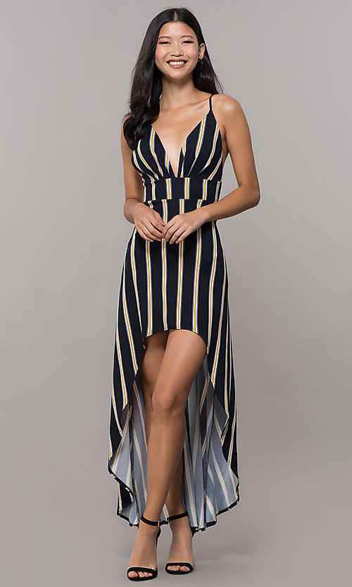 Image of black striped high-low v-neck wedding guest dress. Style: CL-46953 Front Image