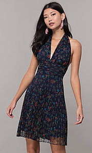 Image of short floral-print navy halter wedding-guest dress. Style: CL-7603P Front Image