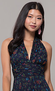 Image of short floral-print navy halter wedding-guest dress. Style: CL-7603P Detail Image 1