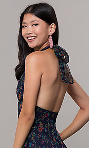 Image of short floral-print navy halter wedding-guest dress. Style: CL-7603P Detail Image 2