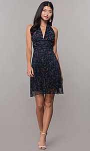 Image of short floral-print navy halter wedding-guest dress. Style: CL-7603P Detail Image 3