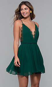 Image of short chiffon v-neck holiday party dress. Style: LUX-LD5170 Detail Image 2