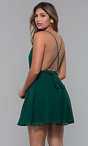 Image of short chiffon v-neck holiday party dress. Style: LUX-LD5170 Detail Image 3