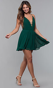 Image of short chiffon v-neck holiday party dress. Style: LUX-LD5170 Detail Image 5