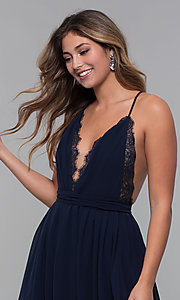 Image of short chiffon v-neck holiday party dress. Style: LUX-LD5170 Detail Image 1