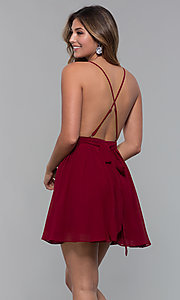 Image of short chiffon v-neck holiday party dress. Style: LUX-LD5170 Detail Image 7