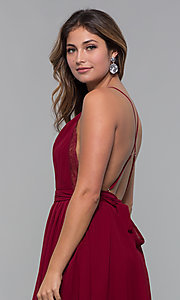Image of short chiffon v-neck holiday party dress. Style: LUX-LD5170 Detail Image 8