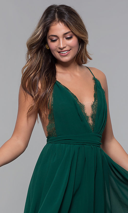 Image of short chiffon v-neck holiday party dress. Style: LUX-LD5170 Detail Image 4
