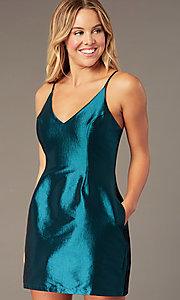 Image of short v-neck holiday party dress with open back. Style: LUX-LD5088 Detail Image 3