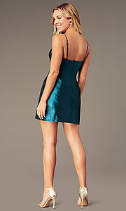 Image of short v-neck holiday party dress with open back. Style: LUX-LD5088 Back Image