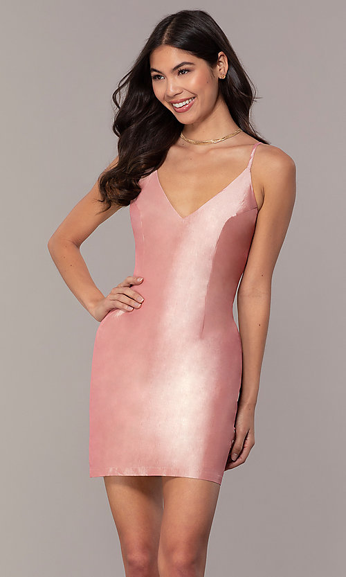 Image of short v-neck holiday party dress with open back. Style: LUX-LD5088 Detail Image 1