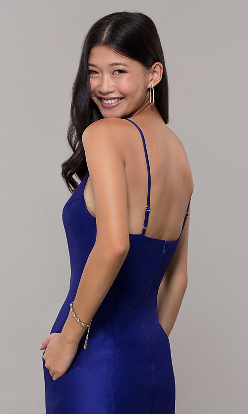 Image of short v-neck holiday party dress with open back. Style: LUX-LD5088 Detail Image 2