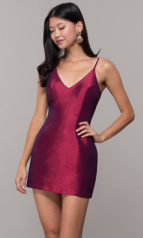 Image of short v-neck holiday party dress with open back. Style: LUX-LD5088 Detail Image 5