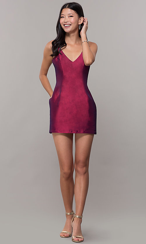 Image of short v-neck holiday party dress with open back. Style: LUX-LD5088 Detail Image 8