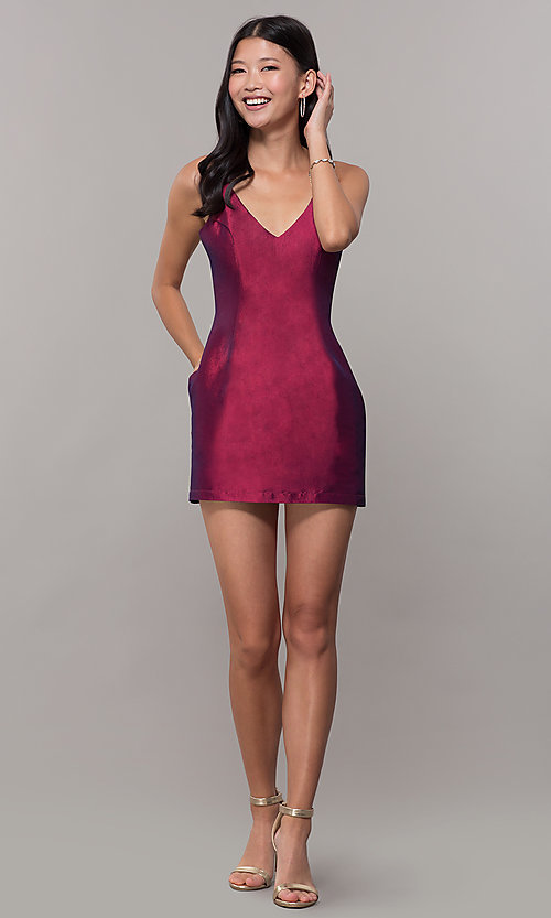 Image of short v-neck holiday party dress with open back. Style: LUX-LD5088 Detail Image 7