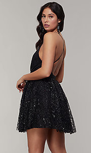 Image of short glitter-mesh v-neck holiday party dress. Style: LUX-LD5202 Back Image