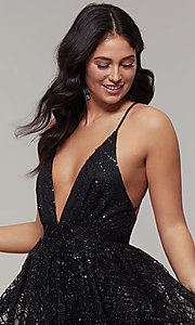 Image of short glitter-mesh v-neck holiday party dress. Style: LUX-LD5202 Detail Image 1