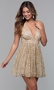 Image of short glitter-mesh v-neck holiday party dress. Style: LUX-LD5202 Front Image